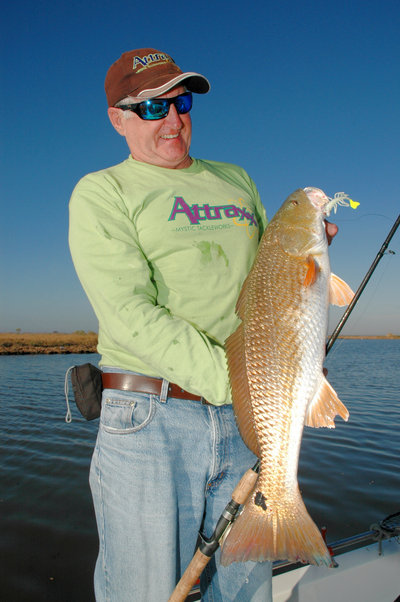 Howard Hammonds, president of Mystic Tackleworks, shows off a redfish he caught on an Attraxx Mystic Shrimp soft bait while fishing with Capt. Phil Robichaux�s Guide Service and in the marshes near Lafitte, La.  (Photo by John N. Felsher)