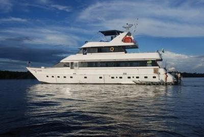 Guests with Anglers Inn International stay aboard the 95-foot luxury yacht, Captain Peacock.