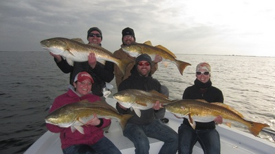 Five reds on at once is always fun. All over sized fish were released unharmed.