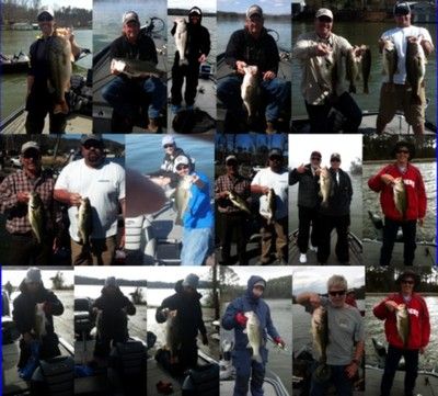 Pictures from the past few weeks guide trips of clients and myself on Lake Guntersville, Al