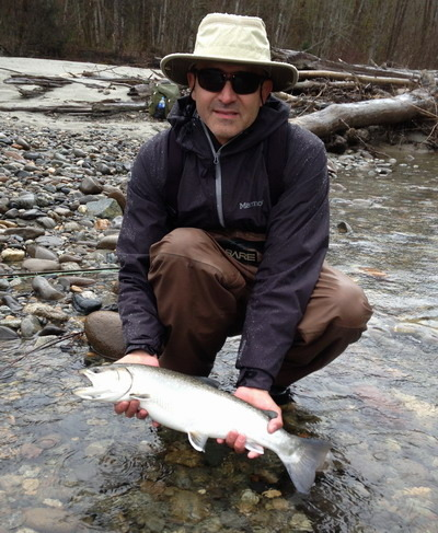 7 lb Bull trout caught fly fishing near Vancouver