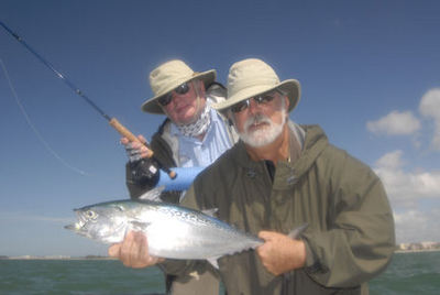 Capt. John Hand & Dr. Ben Estes Sarasota fly albie caught while fishing with Capt. Rick Grassett.