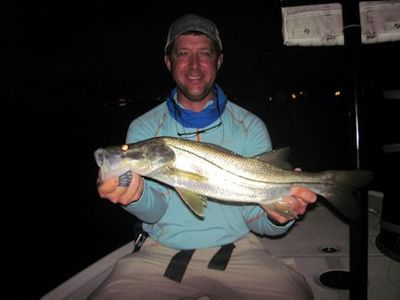 Craig Henke, from Charleston, SC, with a nice snook caught and released on a fly while fishing in Sarasota with Capt. Rick Grassett.