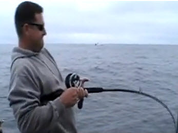 Here is Larry reeling in a Halibut in the second video.