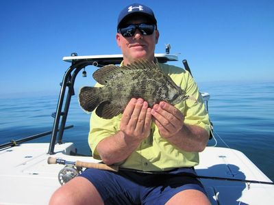 Kirk Grassett, from Middletown, DE, caught and released this tripletail on a fly while fishing the coastal gulf in Sarasota with Capt. Rick Grassett