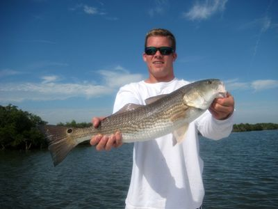Thomas with yet another nice Lagoon Redfish!