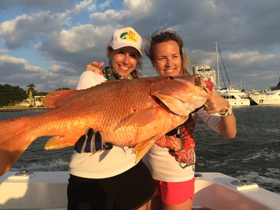 Big snapper caught by these lucky fisher gals
