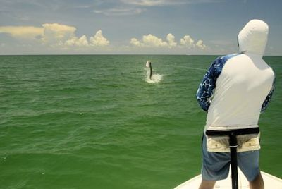 Jeb Mulock, from Bradenton, FL, jumps a tarpon on a fly while fishing in Sarasota with Capt. Rick Grassett.