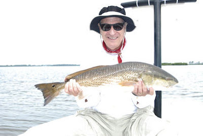Jerry Roth's Sarasota Bay CAL shad tail red caught with Capt. Rick Grassett