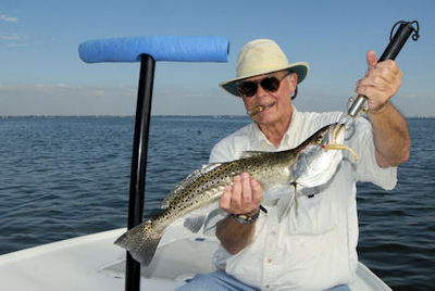 Keith McClintock's 5-lb Sarasota Bay CAL jig trout caught with Capt. Rick Grassett.