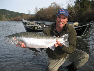 Smith river steelhead guides Dave Jacobs with a nice North Coast steelhead