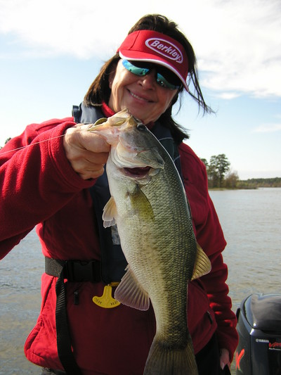 this lady angler had a blast catching bass on TX and Carolina Rigs