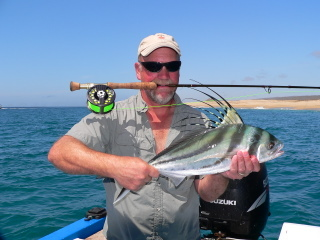 This is Don Lange with his second ever rooster fish on a fly rod.  Don caught this fish while I guided him in Cabo last week.