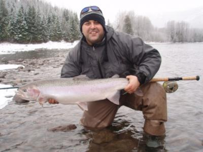 The photo of the week shows a beautiful Zymoetz (Copper) River doe Steelhead landed by Rob Vodola.  It is never too late in the season to go fishing for these gems!  Don�t let the poor weather stop you