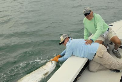 Dennis Ondercin, from OH, with a tarpon caught and released in the coastal gulf in Sarasota while fishing with Capt. Rick Grassett.
