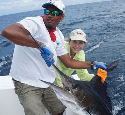 Rachel Cembalest with a nice Striped Marlin
