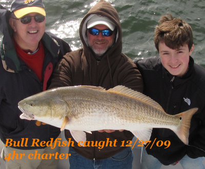 Bull redfish caught December 27th, 2009