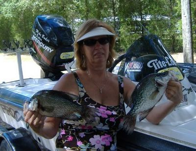 Susan Baker has a good day with husband on Lake Bryant