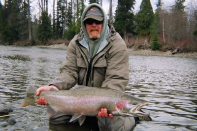 The photo of the week shows Troy Adams a repeat guest of Kalum River Lodge with a nice spring Steelhead landed on the Kalum River in April last year.  Troy loves to fish with his spey fly rod and will be back again this spring.